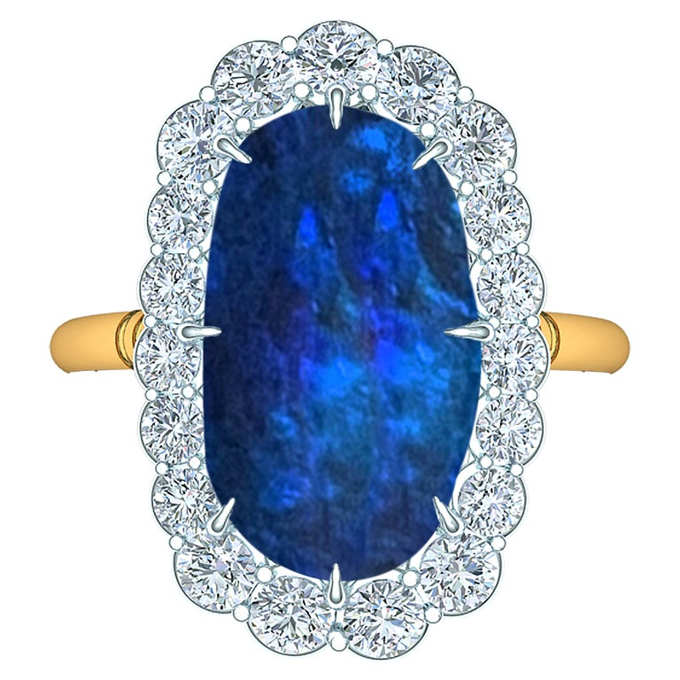 4 Carat Black Opal and Diamond Ring For Sale