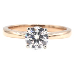 GIA Certified 1.03 Carat G VS1 Round Diamond Solitaire Engagement Ring Rose Gold