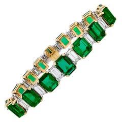 38.63 Carat Emerald Diamond Bracelet