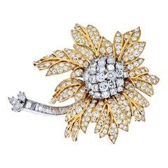 25 Carat Platinum and 18K Yellow Gold Diamond Vintage Flower Brooch
