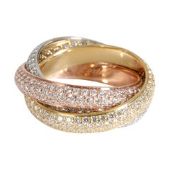 Cartier Trinity Pave Diamond Ring in 18k 3 Tone Gold 2.98 CTW