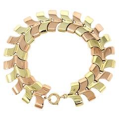 Polished Two-Tone 14 Karat Yellow and Rose Gold Chevron Style Link Bracelet