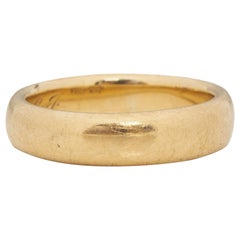 Victorian 18K Yellow Gold Vintage Mermod & Jaccard Co. Comfort Fit Wedding Band