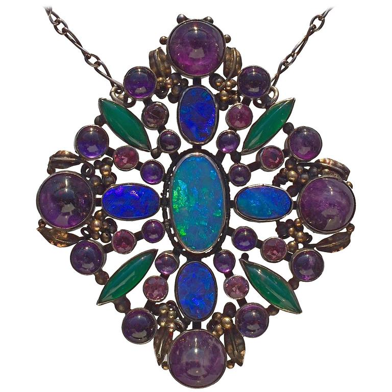 Attributed to Dorrie Nossiter Arts and Crafts Pendant For Sale