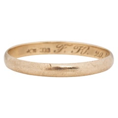 Dated 1924 8K Yellow Gold Vintage Smooth Comfort Fit Stackable Wedding Band