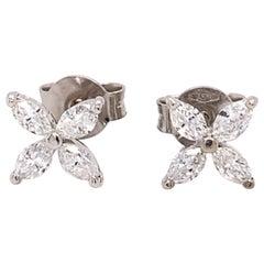 Flower Shaped Diamond Earrings
