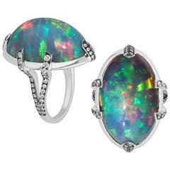 Goshwara Large Black Opal Cabochon Diamond Ring