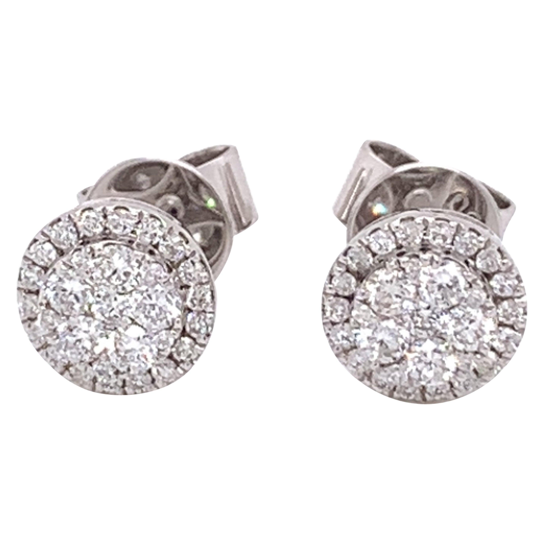 Medium Diamond Cluster Stud Earrings