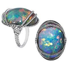 Goshwara Large Black Opal Cabochon Diamond with Light Black Rhodium Ring
