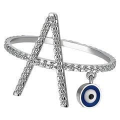 Diamond Letter Ring, Mini Evil Eye Charm Enamel, 18K White Gold Personalized A