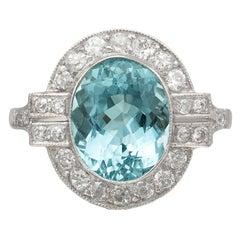 Estate Aquamarine & Diamond Ring