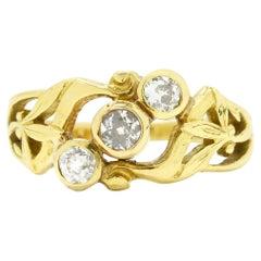 Antique Victorian Diamond 3 Stone Engagement Ring Wedding Band