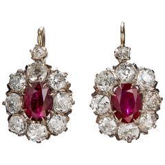 Victorian Ruby Diamond Gold Earrings