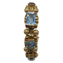 Retro Aquamarine 18 Karat Rose Gold Bracelet