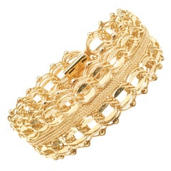 14 Karat Yellow Gold Wide Vintage Woven Bracelet