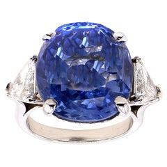 22 Carat Natural Ceylon Sapphire Diamond Platinum Ring