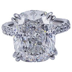 David Rosenberg 8.72 Carat Cushion Cut H VS2 GIA Diamond Engagement Ring