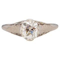 GIA Certified 1.13 Carat Art Deco Diamond Platinum Engagement Ring