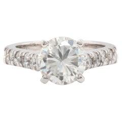 14 Karat White Gold 1.81ct Round Brilliant Cut Diamond Engagement Ring
