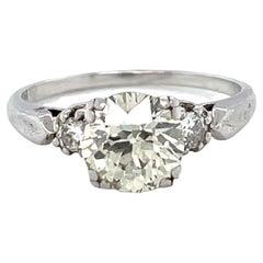 Retro 1.26 Carat Old European Cut Diamond Platinum Engagement Ring