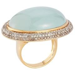 Parulina Aquamarine and Diamond Ring in 18K Yellow Gold