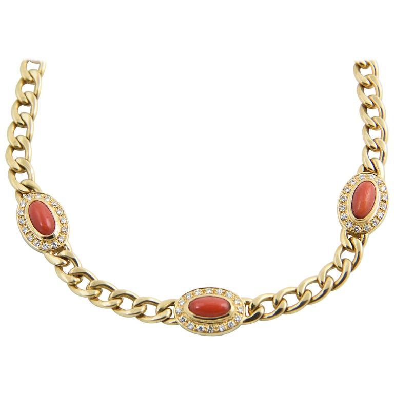 Late 20th Century UnoAErre Italian Red Coral Diamond Gold Chain Link Necklace 1