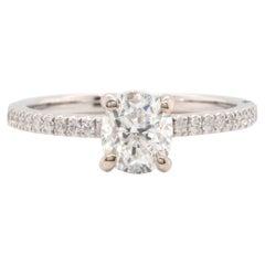 14 Karat White Gold 1.00ct Oval Diamond Engagement Ring