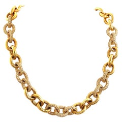 24.27ct Diamond Chain Necklace Hammer Finished 18k Yellow Gold