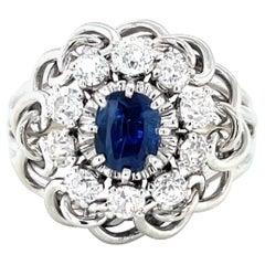 Retro French Sapphire Diamond White Gold Ring