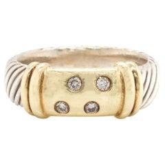 David Yurman Sterling Silver and 14 Karat Yellow Gold Diamond Cable Ring