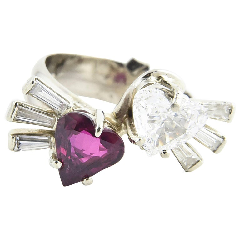 Toi et Moi Ruby Diamond Hearts Bypass White Gold Ring For Sale