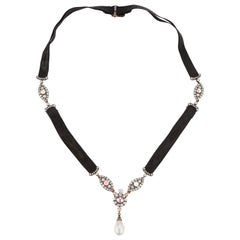 Rene Boivin Natural Pearl and Diamond Necklace
