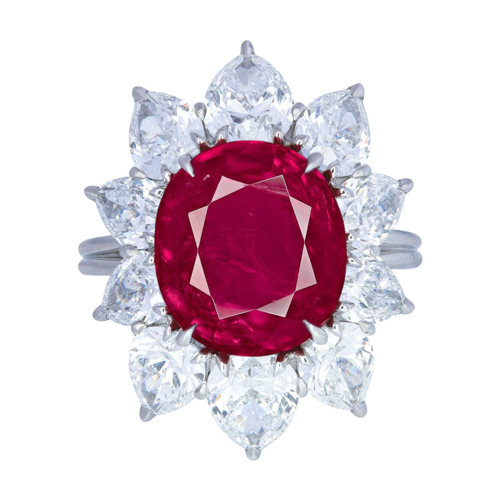 GRS Switzerland GIA Certified Burma Burmese No Heat Ruby Diamond Cocktail Ring