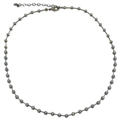 1.60 Carat 18 Karat White Gold Natural Diamond Line Necklace