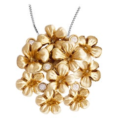 18 Karat Yellow Gold Baroque Style Pendant Necklace with Diamonds by Artist