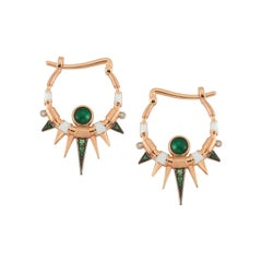 Cyra Hoop Earrings in Rose Gold with Emerald, White Diamond and Savorite