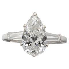 GIA Certified 2.51 Carat VVS2 Pear Shape Diamond White 18K Gold Engagement Ring