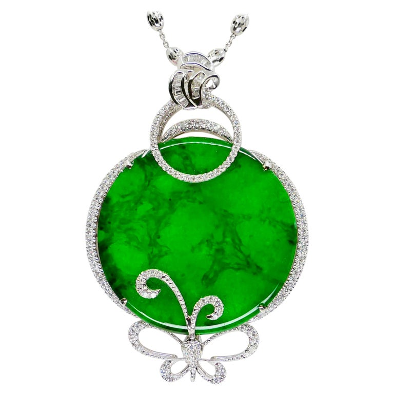 Certified Imperial & Apple Green Jadeite Jade Diamond Pendant, Sika Deer Pattern For Sale