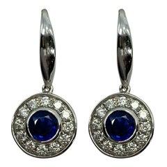 Fine Blue Ceylon Sapphire Diamond 18k White Gold Round Cut Halo Drop Earrings