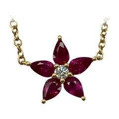 1.50 Carat Fine Deep Red Ruby & Diamond 18k Yellow Gold Flower Pendant Necklace