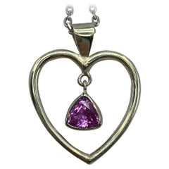 Handmade 0.85 Carat Vivid Pink Tourmaline Trillion Triangle Cut Heart Pendant