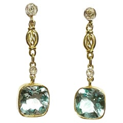 1940s Blue Topaz, Diamonds and 18k Yellow & White Gold Retro Stud Drop Earrings.