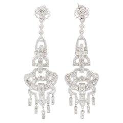 1.15 Carat Diamond Drop Earrings in White Gold