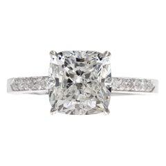 GIA 2.50 Carat VVS2 Cushion Cut Diamond White 18k Gold Ring