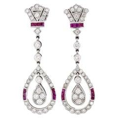 2.02 Carat Diamond Drop Earrings with Rubies