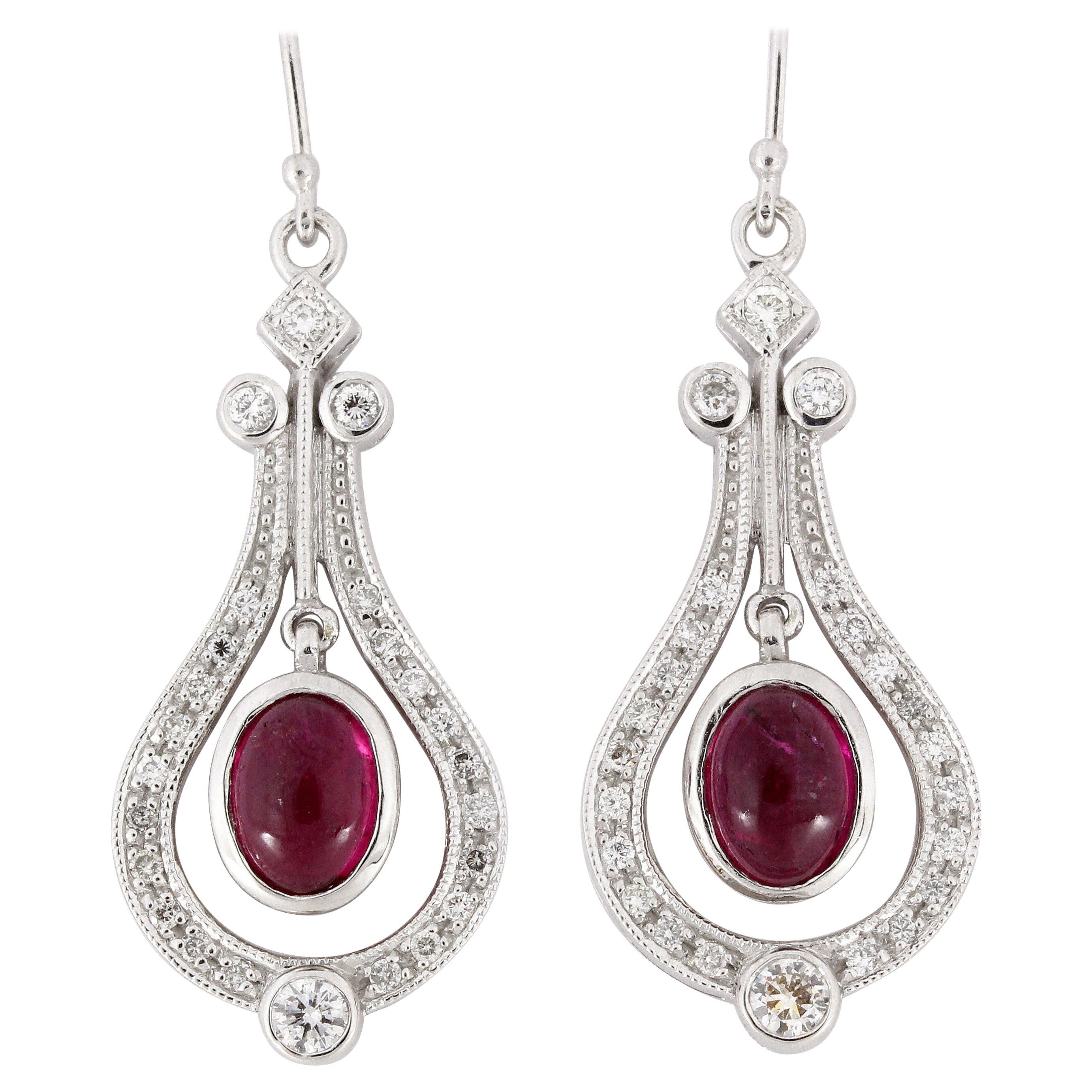 2.6 Carat Cabochon Ruby Diamond Drop Earrings