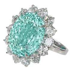 IGI Certified 22 Carat  NEON Paraiba Tourmaline Oval Diamond Cocktail Ring