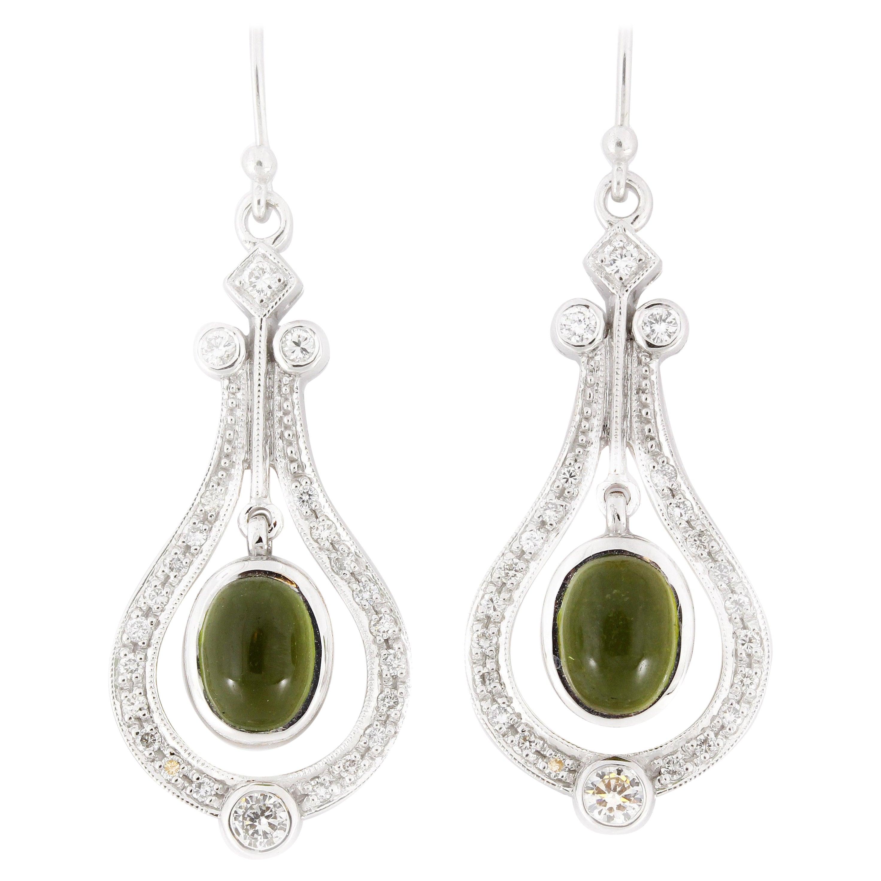 3.10 Carat Cabochon Peridot Diamond Drop Earrings