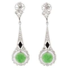 4.8 Carat Jade Diamond Drop Earrings