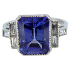 Art Deco Style 2.60 Carat Tanzanite and Baguette Diamond Ring, Platinum